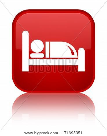 Hotel Bed Icon Shiny Red Square Button