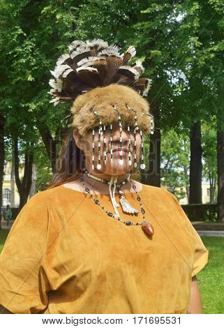05.07.2014.Russia.Saint-Petersburg.A woman from the tribe of Indians in national costume.