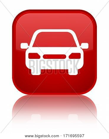Car Icon Shiny Red Square Button