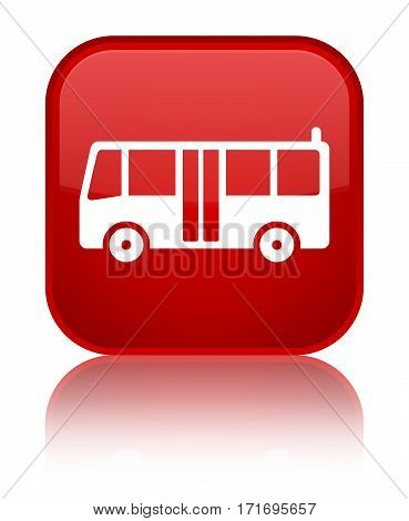 Bus Icon Shiny Red Square Button