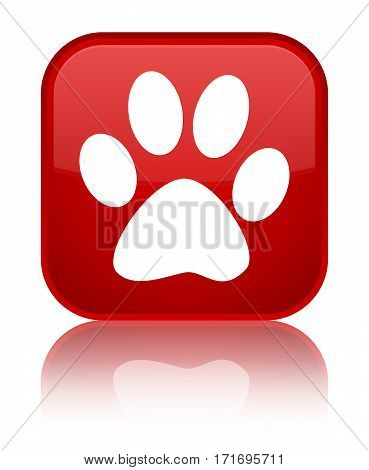 Animal Footprint Icon Shiny Red Square Button