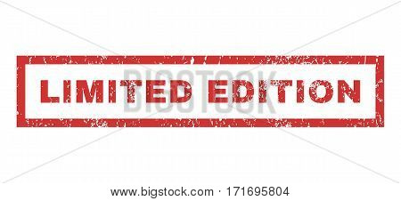 Limited Edition text rubber seal stamp watermark. Caption inside rectangular shape with grunge design and scratched texture. Horizontal vector red ink emblem on a white background.