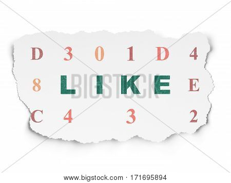 Social network concept: Painted green text Like on Torn Paper background with  Hexadecimal Code