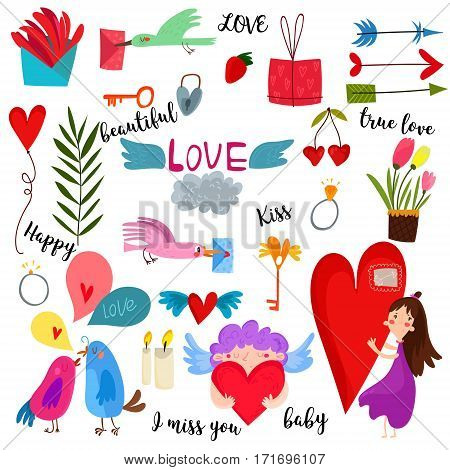 Love Collection:arrows, Flowers, Labels, Laurel, Hearts, Birds,  Air-balloon,cupid. Graphic Set In R