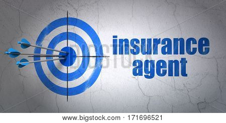 Success Insurance concept: arrows hitting the center of target, Blue Insurance Agent on wall background, 3D rendering