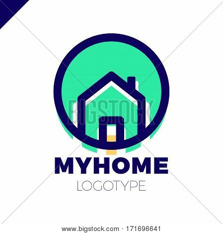 Template Logo For Real Estate Agency Or Cottage Town Elite Class. Real Estate Logotype In Circle