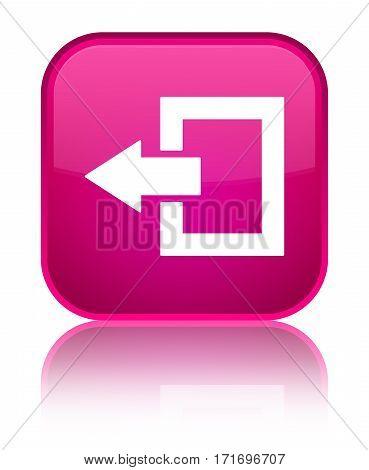 Logout Icon Shiny Pink Square Button