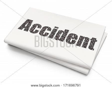 Insurance concept: Pixelated black text Accident on Blank Newspaper background, 3D rendering
