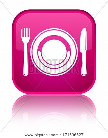 Food Plate Icon Shiny Pink Square Button
