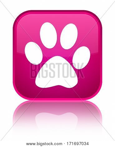 Animal Footprint Icon Shiny Pink Square Button