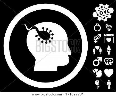 Brain Parasite icon with bonus love symbols. Vector illustration style is flat iconic white symbols on black background.