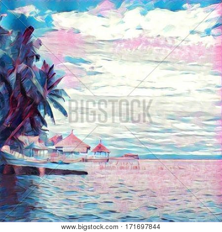 Hut on piles in the sea pastel colors image. Tropical island landscape. Palm tree on beach watercolor etude. Summer holiday season by the seaside. Tropic holiday digital illustration. Pink and blue