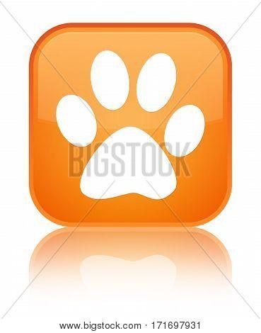 Animal Footprint Icon Shiny Orange Square Button
