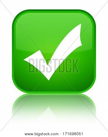Validation Icon Shiny Green Square Button