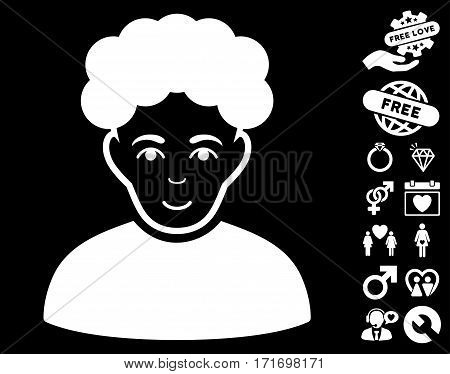 Brunet Man pictograph with bonus romantic images. Vector illustration style is flat iconic white symbols on black background.