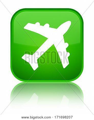 Plane Icon Shiny Green Square Button