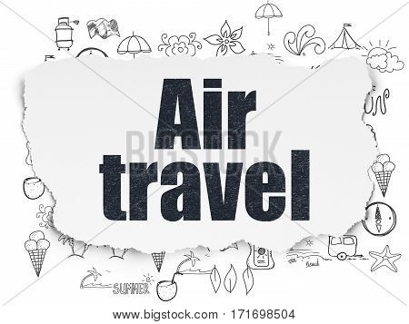 Travel concept: Painted black text Air Travel on Torn Paper background with  Hand Drawn Vacation Icons