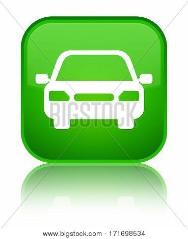 Car Icon Shiny Green Square Button
