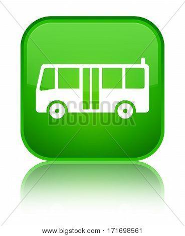 Bus Icon Shiny Green Square Button