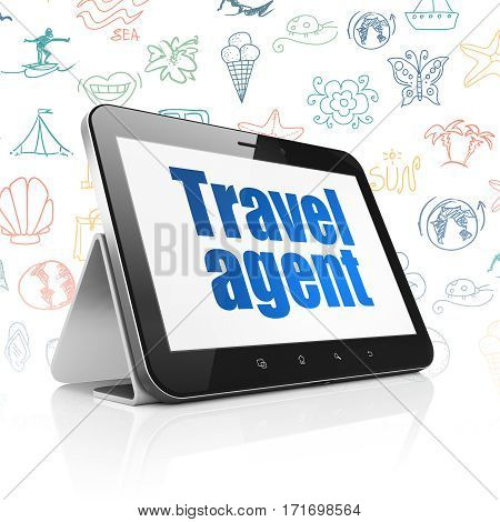 Travel concept: Tablet Computer with  blue text Travel Agent on display,  Hand Drawn Vacation Icons background, 3D rendering