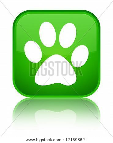 Animal Footprint Icon Shiny Green Square Button