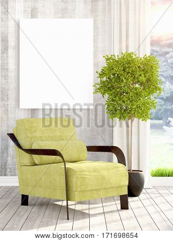 Beautiful living room interior with mock up poster frame. 3D rendering