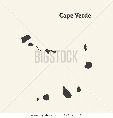 Outline map of Cape Verde. Isolated vector illustration.