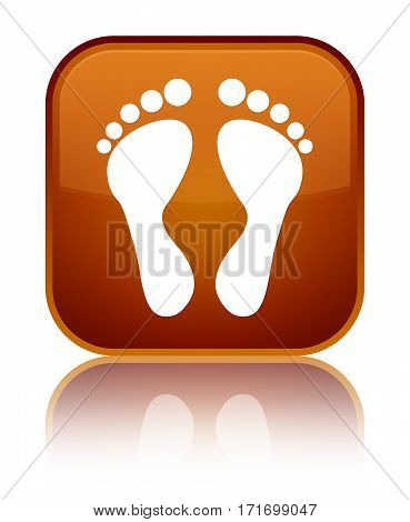 Footprint Icon Shiny Brown Square Button
