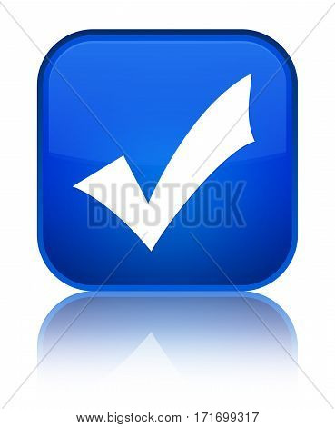 Validation Icon Shiny Blue Square Button