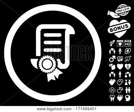 Certified Scroll Document pictograph with bonus lovely symbols. Vector illustration style is flat iconic white symbols on black background.