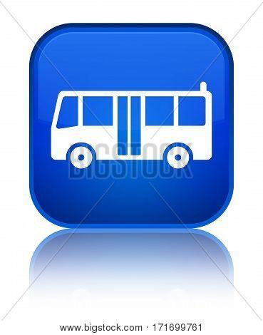 Bus Icon Shiny Blue Square Button