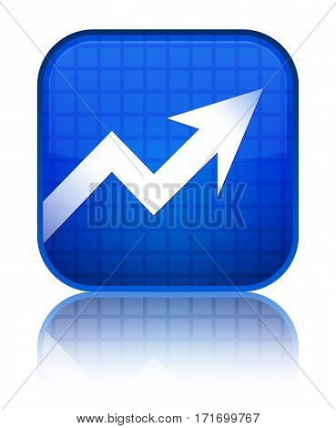 Business Graph Icon Shiny Blue Square Button