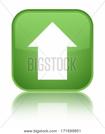 Upload Arrow Icon Shiny Soft Green Square Button
