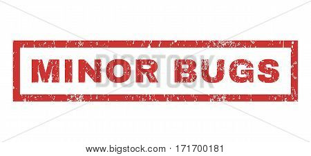 Minor Bugs text rubber seal stamp watermark. Caption inside rectangular banner with grunge design and scratched texture. Horizontal vector red ink sign on a white background.