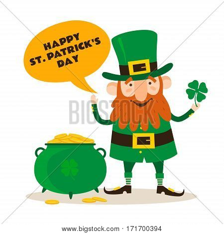 Saint Patrick's Day. Funny Leprechaun with leaf clover and pot of gold on a light background. Vector illustration.