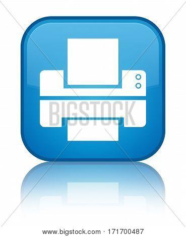 Printer Icon Shiny Cyan Blue Square Button