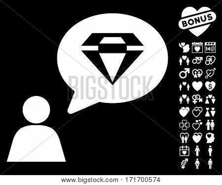 Diamond Thinking Person pictograph with bonus love pictograph collection. Vector illustration style is flat iconic white symbols on black background.