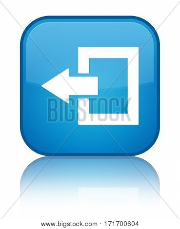 Logout Icon Shiny Cyan Blue Square Button