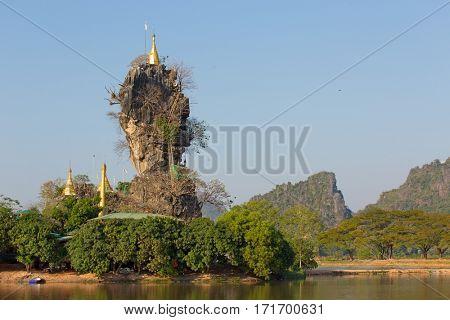Kyauk Kalap pagoda at the top of a rock, Hpa-An, Myanmar
