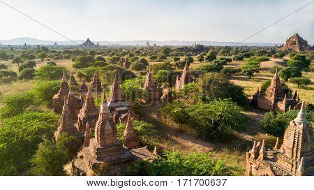 Aerial view of Bagan plain with pagodas in Myanmar