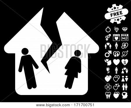 Divorce House pictograph with bonus amour design elements. Vector illustration style is flat iconic white symbols on black background.
