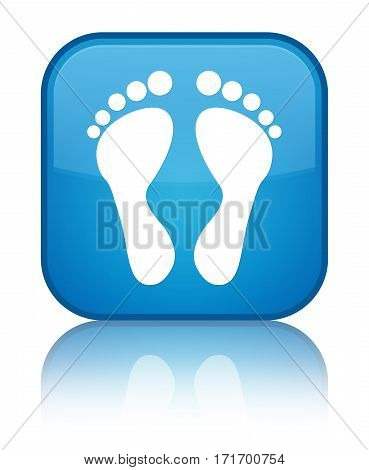 Footprint Icon Shiny Cyan Blue Square Button