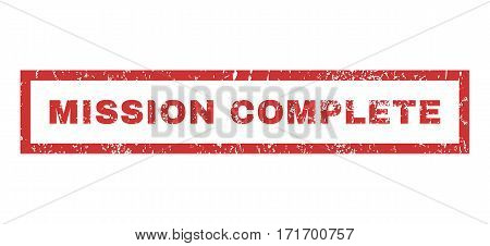 Mission Complete text rubber seal stamp watermark. Caption inside rectangular shape with grunge design and scratched texture. Horizontal vector red ink sticker on a white background.