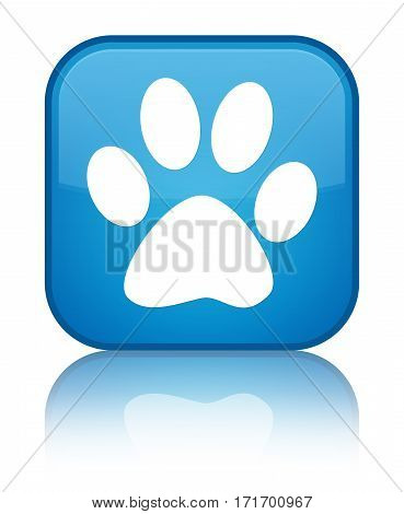 Animal Footprint Icon Shiny Cyan Blue Square Button