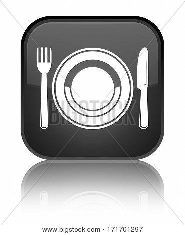 Food Plate Icon Shiny Black Square Button