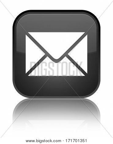 Email Icon Shiny Black Square Button