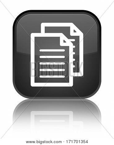 Documents Icon Shiny Black Square Button