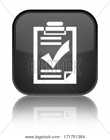 Checklist Icon Shiny Black Square Button