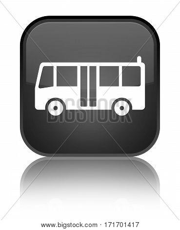 Bus Icon Shiny Black Square Button