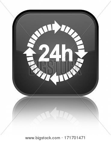24 Hours Delivery Icon Shiny Black Square Button